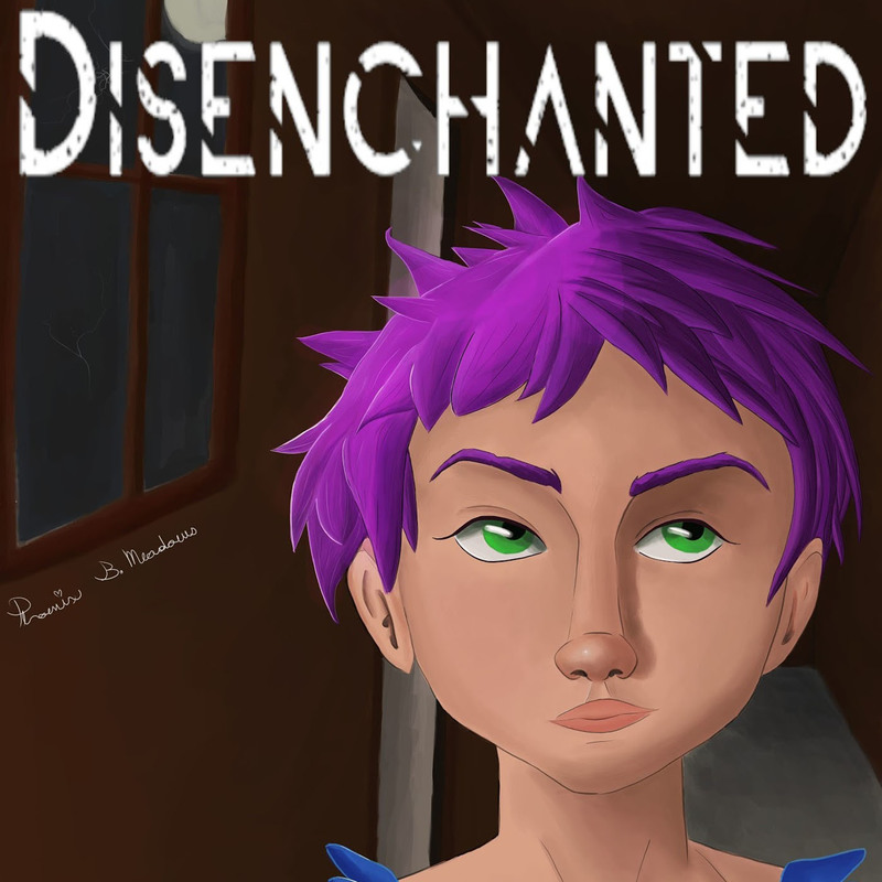 Disenchanted logo features a drawing of Lyra who is a teenager with short purple hair. They are in a dark house in front of a window, at night.